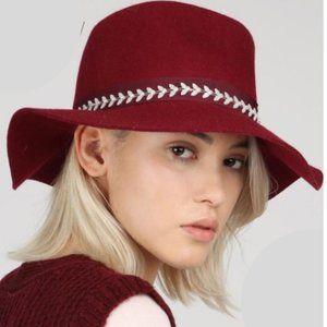 Bohemian Beads Burgundy Panama Hat